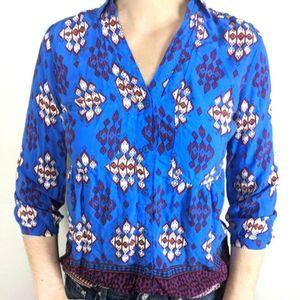 ANTHRO MAEVE Blue Boho Button Down Shirt Size 4